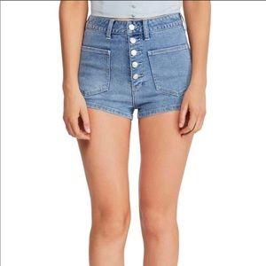 Free People Bridgette Denim Shorts Button Fly 25